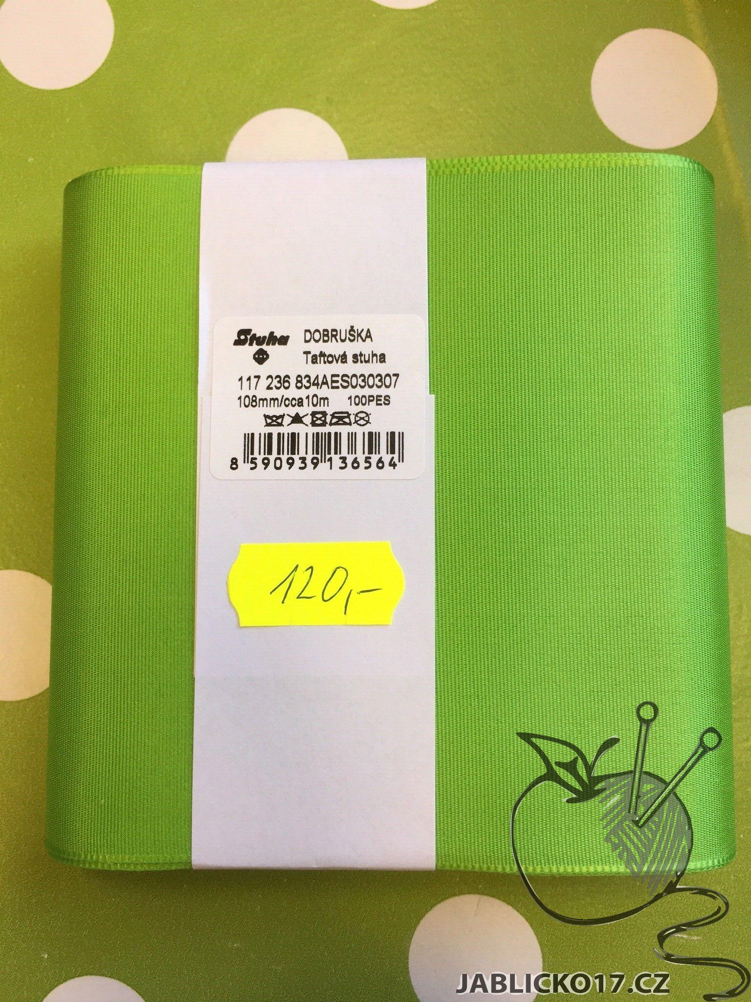 Taftová stuha sv. zelená 108mm