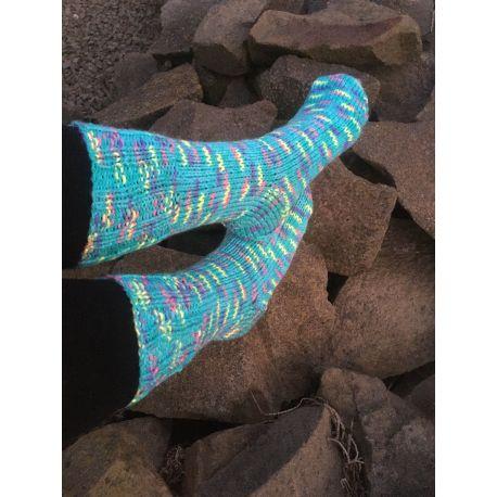 Ponožky samovzorovací - tyrkys