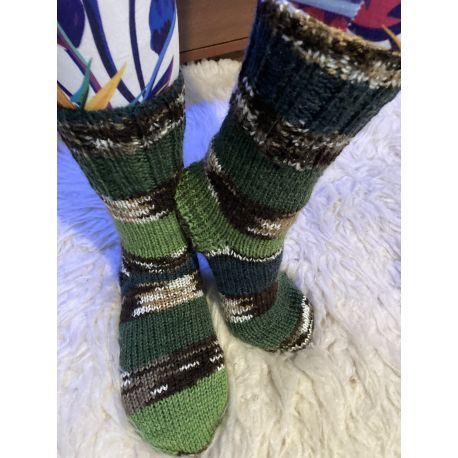 Ponožky samovzorovací zeleno hnědá